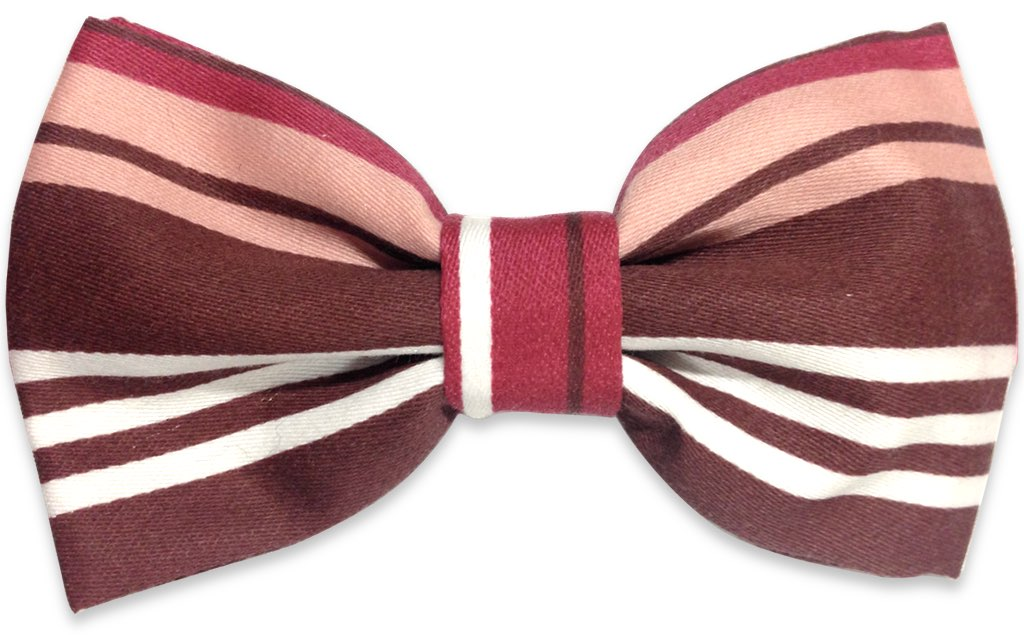 brown garnet stripes bow tie