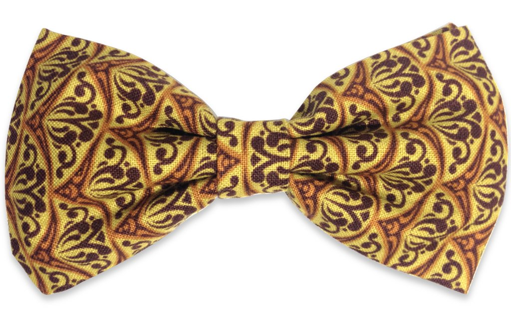 brown yellow print bow tie
