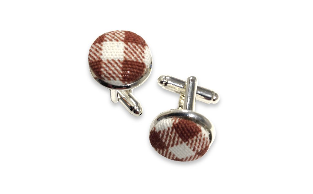 brown plaids cuff links