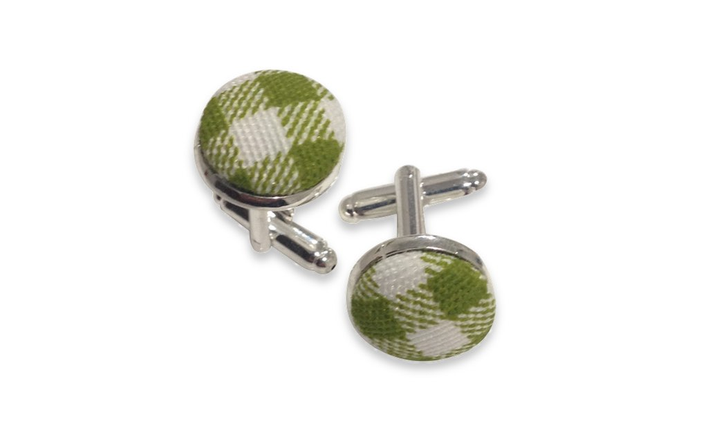 Green plaid Cufflinks