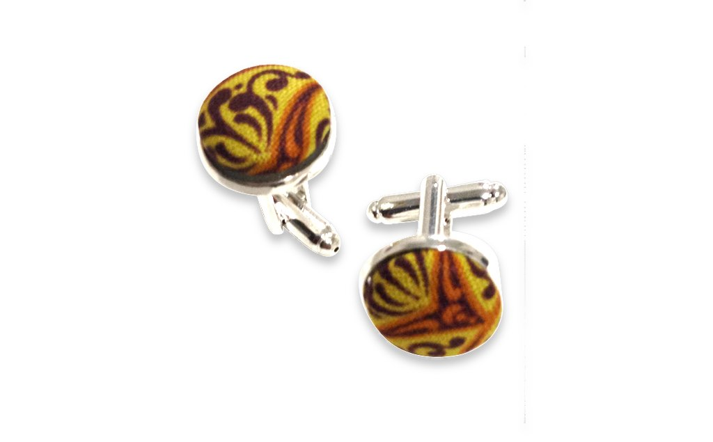 yellow floral cuff links