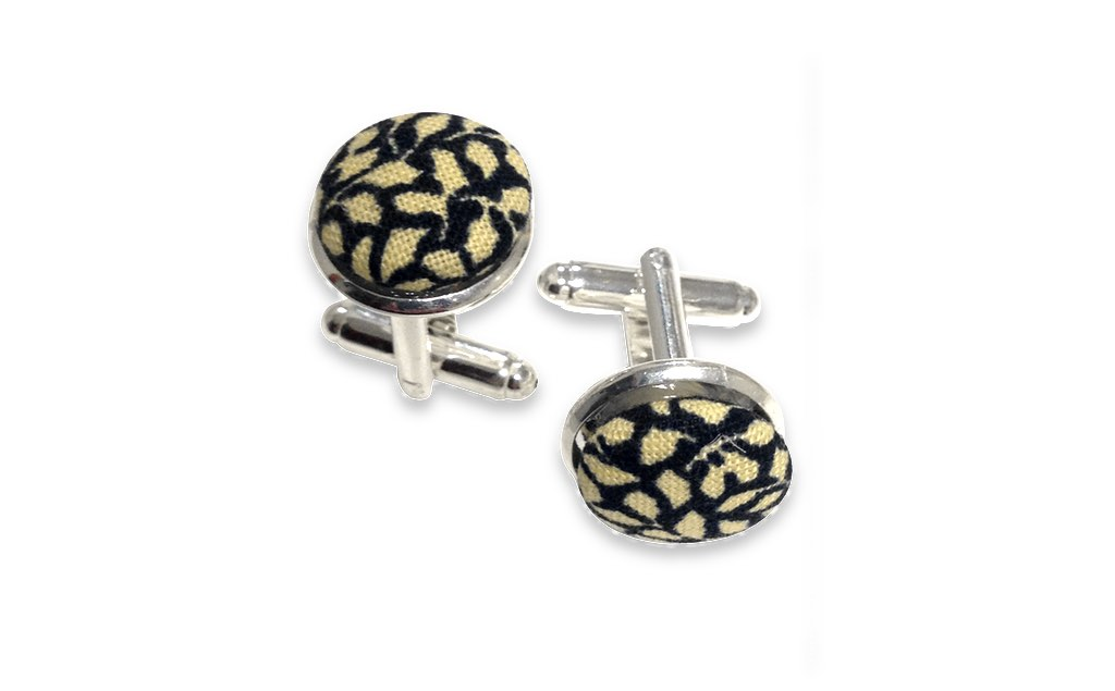 black and yellow cuff links