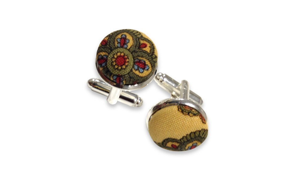 floral yellow cuff links