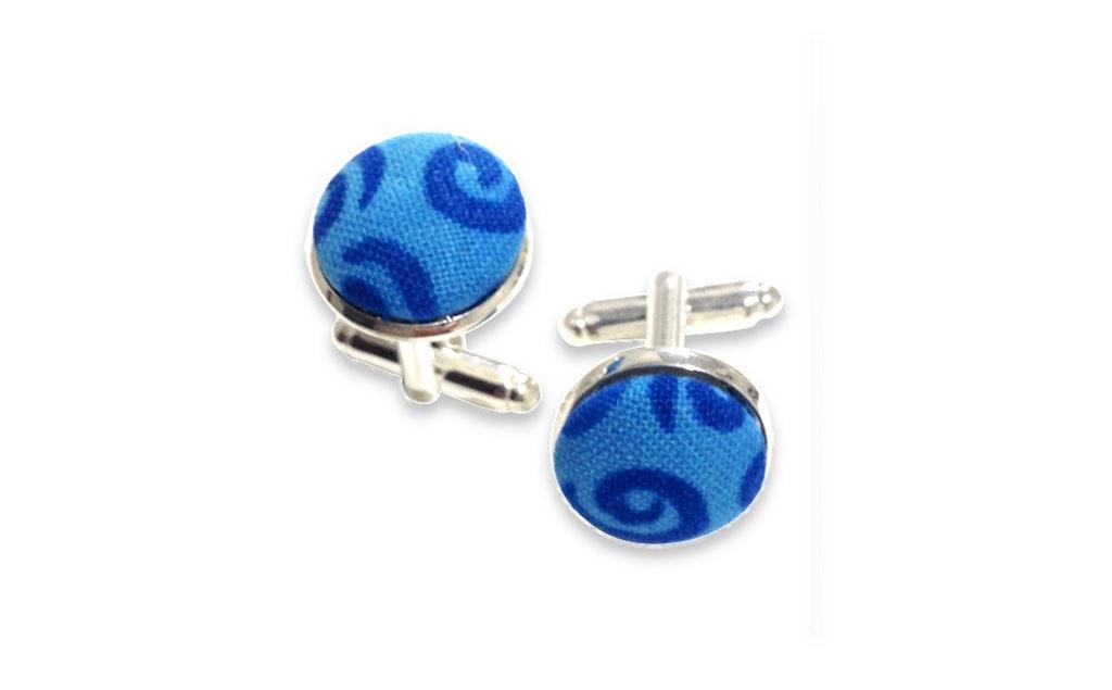 blue spiral cufflinks
