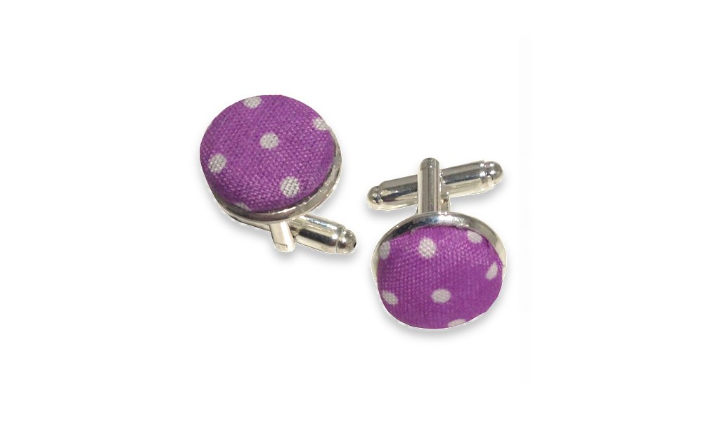 purple and white dots cuff links