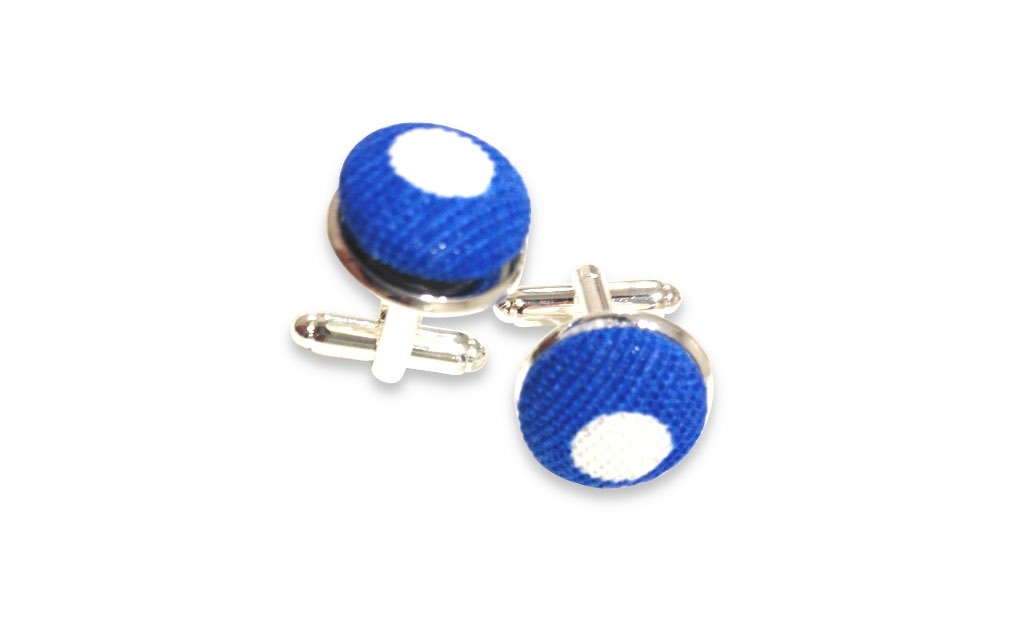 blue and white dots cuff links