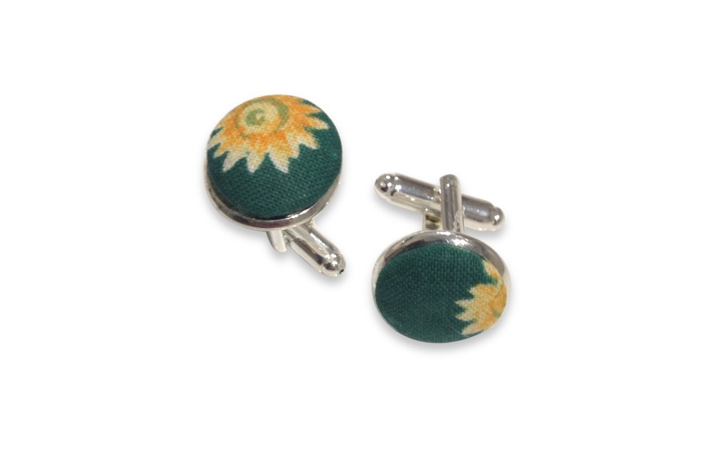 green floral cuff links