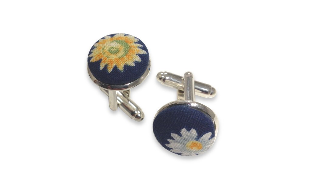 blue flowers cuff links