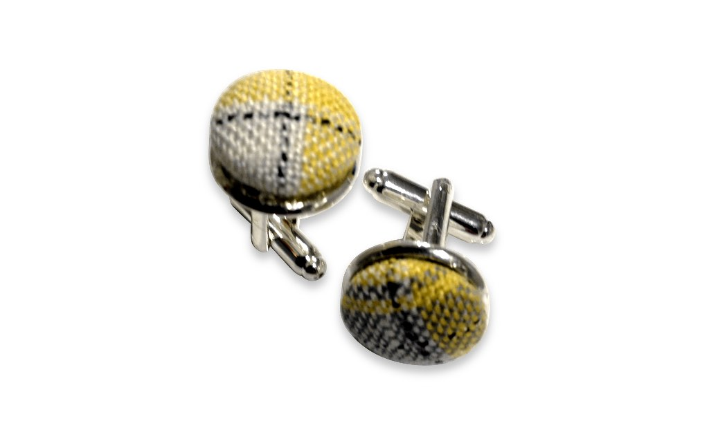 yellow plaid cufflinks