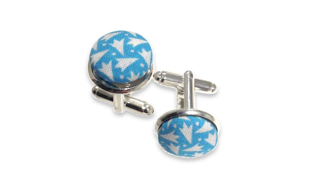 blue & white cuff links