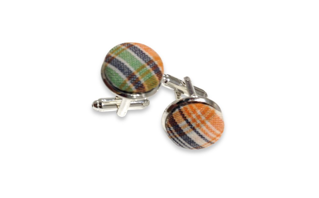 green and orange cuff links