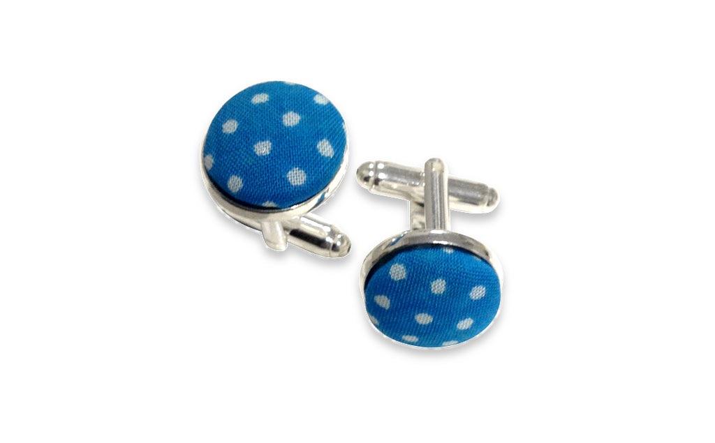 blue dots cuff links