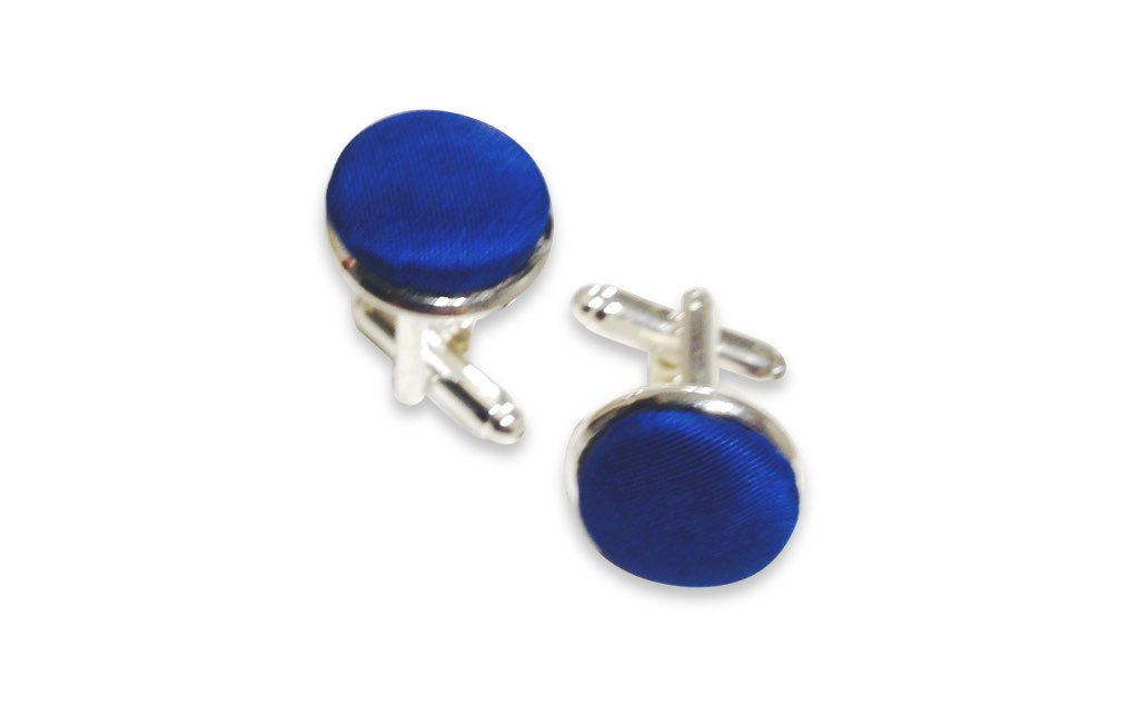 blue silk cufflinks