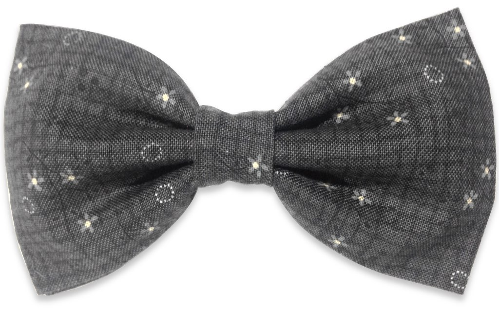 gray floral bow tie