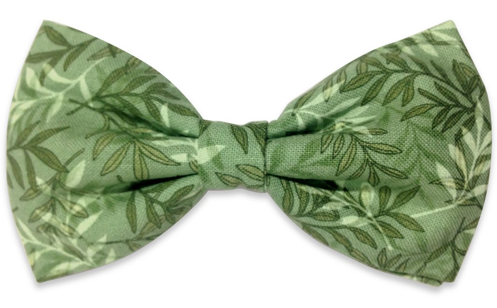 green plant print bow tie
