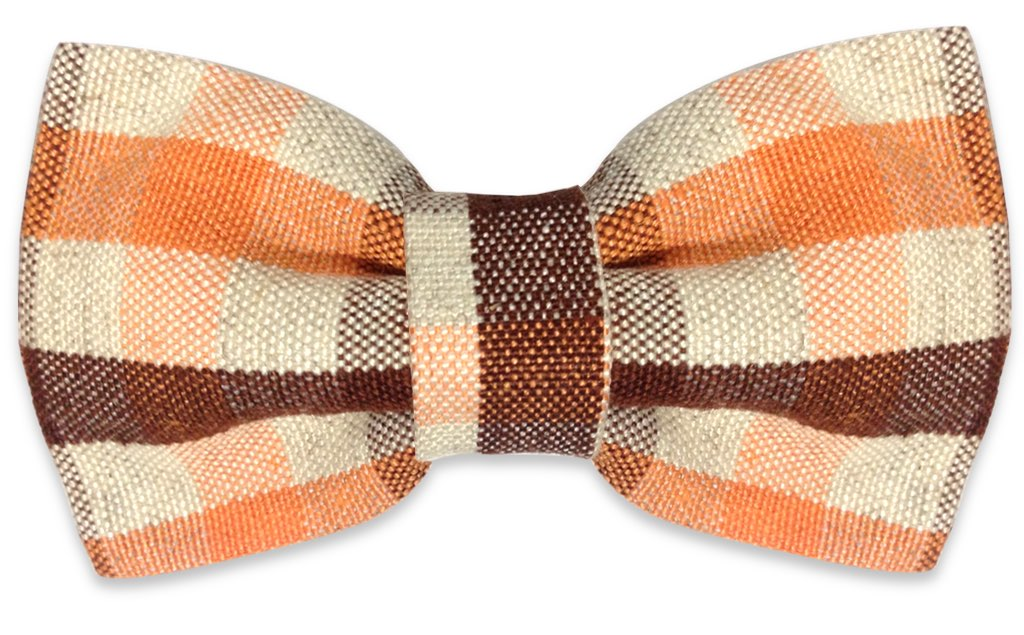 orange brown plaids bow tie