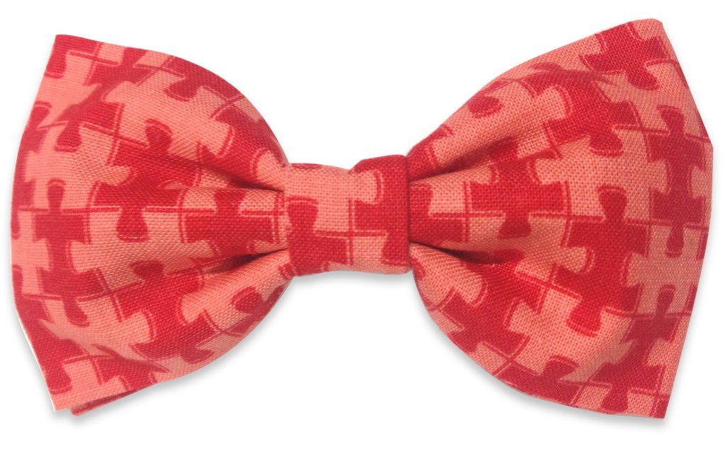 red puzzle bow tie