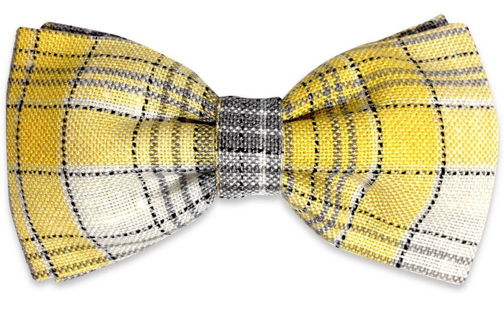 yellow plaids bow tie
